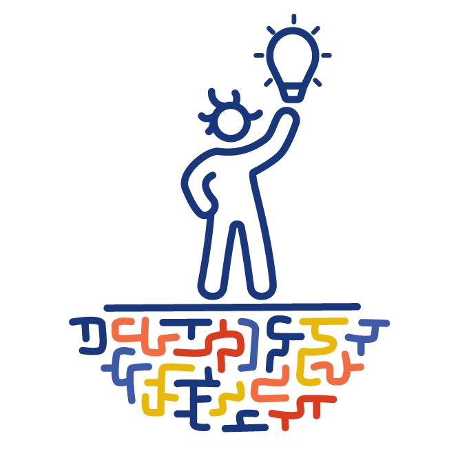 Eine Figur steht auf einem bunten Labyrinth. Sie hält einen Arm in die Luft, über dem eine Glühbirne schwebt. Sie hat eine Idee.