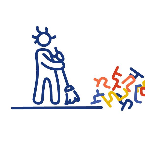 Eine Figur hält einen Besen in der Hand. Sie fegt damit die bunten Reste eines Labyrinths weg.