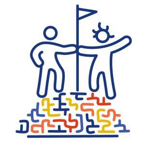 Zwei Figuren stehen auf dem Gipfel eines bunten Labyrinths. Sie berühren beide einen Fahnenmast, der zwischen ihnen steht. Sie haben zueinander gefunden.