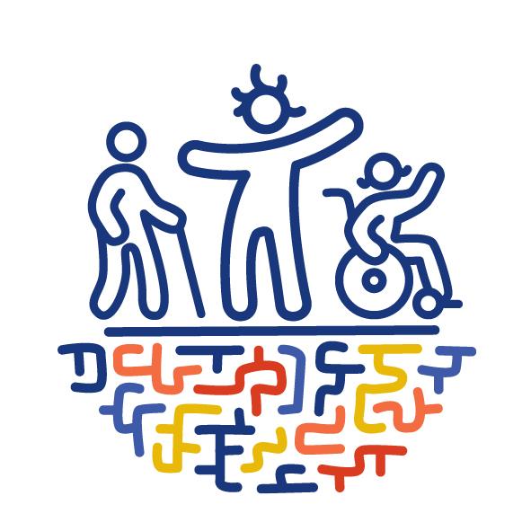 Eine Figur steht mit ausgestreckten Armen auf einem bunten Labyrinth. Links von ihr ist eine andere Figur mit einem Gehstock. Rechts von ihr ist eine andere Figur in einem Rollstuhl. Sie winkt.