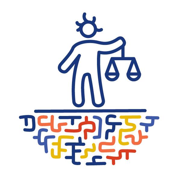 Eine Figur steht auf einem bunten Labyrinth. Sie hält die Waage der Gerechtigkeit in einer Hand.