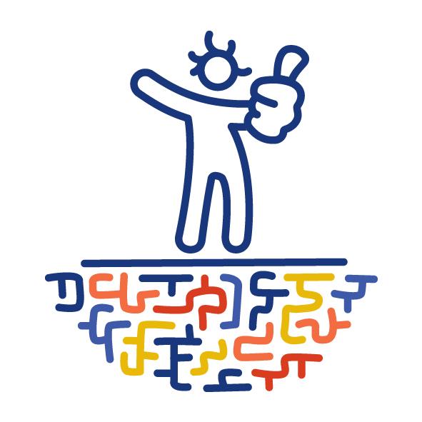 """Eine Figur steht auf einem bunten Labyrinth. Sie macht die """"Daumen hoch"""" Geste."""