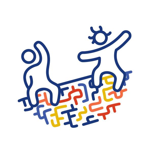 Zwei Figuren sitzen auf einem bunten Labyrinth, das wie eine Rutsche geneigt ist. Sie haben beide die Arme ausgestreckt und haben gemeinsam Spaß.